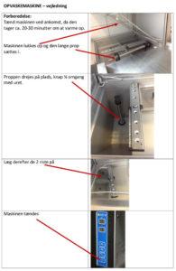 Billeder og vejledningstekst til industriopvaskemaskine