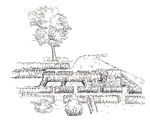 Tegning af urnegravpladserne på Skjoldbjerg kirkegård.