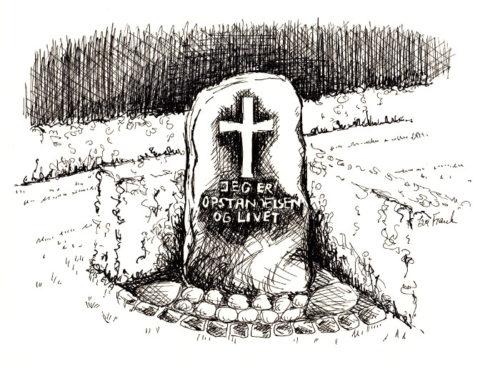 Tustegning af mindesten fra ukendtes begravelsesområde på Vorbasse kirkegård. Med påskriften Jeg er opstandelsen og livet