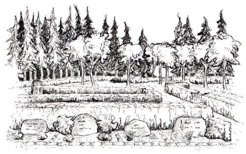 Tustegning af plænebegravelsesområde på Vorbasse kirkegård. Stedet er anlagt i række med baghæk af bøg.