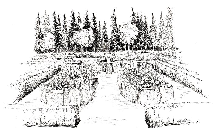 Tustegning af lapidariet på Vorbasse kirkegård.
