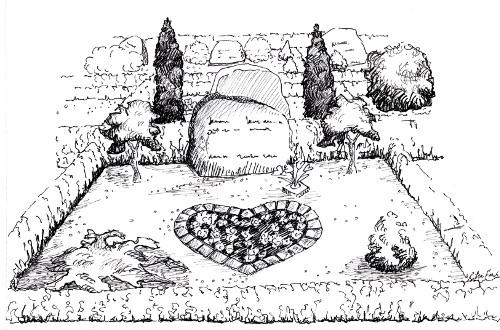 Tustegning af traditionelt gravstedsanlæg på Vorbasse kirkegård.