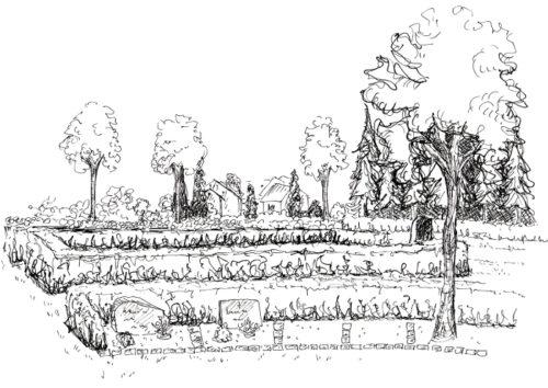 Tustegning af urnebegravelsesområdet på Vorbasse kirkegård.