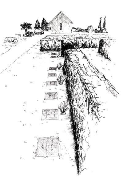 Tustegning af plænebegravelsesområde på Vorbasse kirkegård. Hvor mindestenen er nedgravet i græsstet.