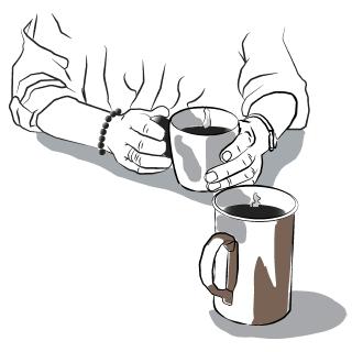 Stregtegning af to krus kaffe og et par hænder der holder om det ene krus.