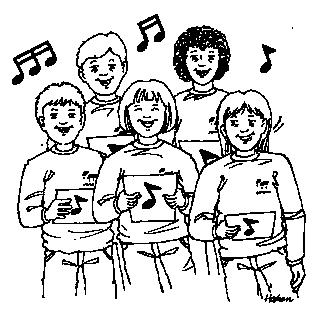 Stregtegning af 5 personer der synger
