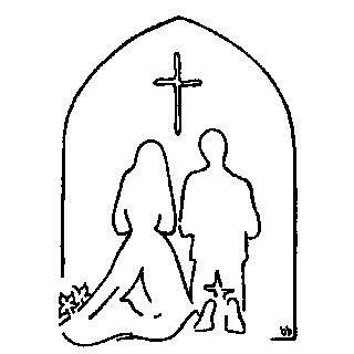 Enkel stregtegning af vielseshandlingen i kirken.
