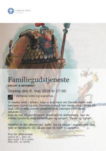 Plakat med oplysning om familiegudstjenesten, hvor der er en tegning i baggrunden af David og Goliat.