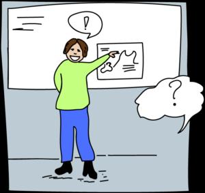 Tegning af person der forklarer sig ved en tavle.