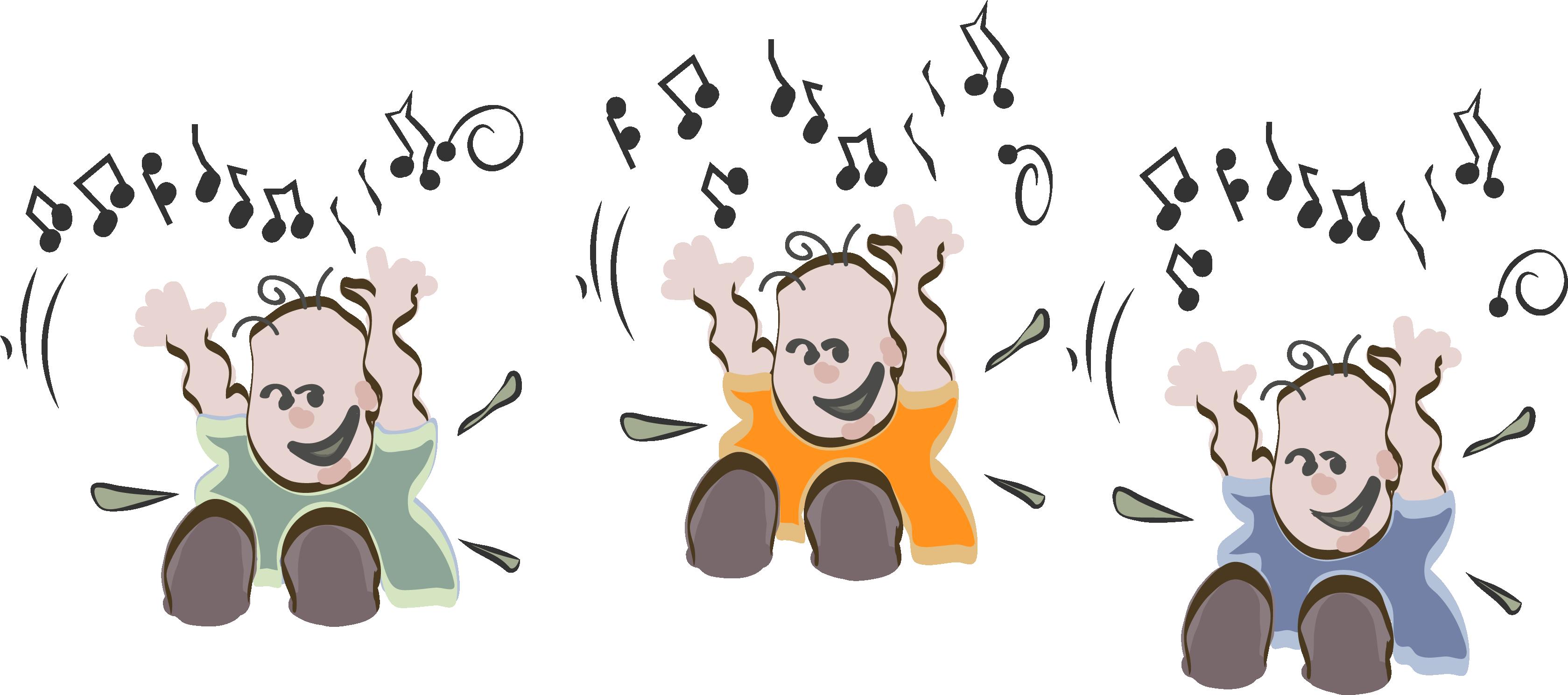 Tegning af 3 syngende babyer.