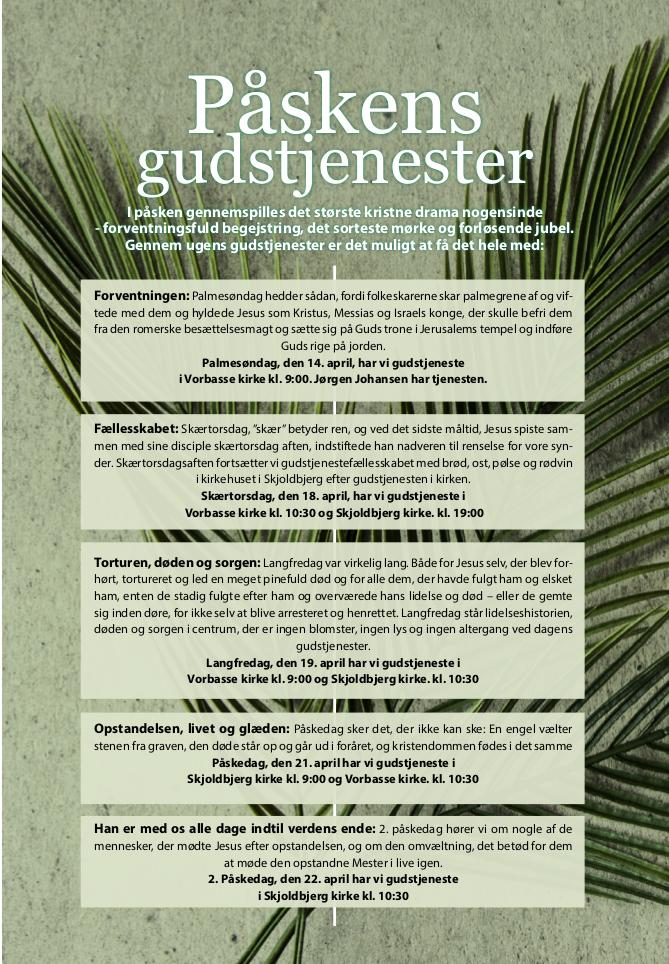 Oversigt over påskens gudstjenester i Vorbasse og Skjoldbjerg kirker 2019
