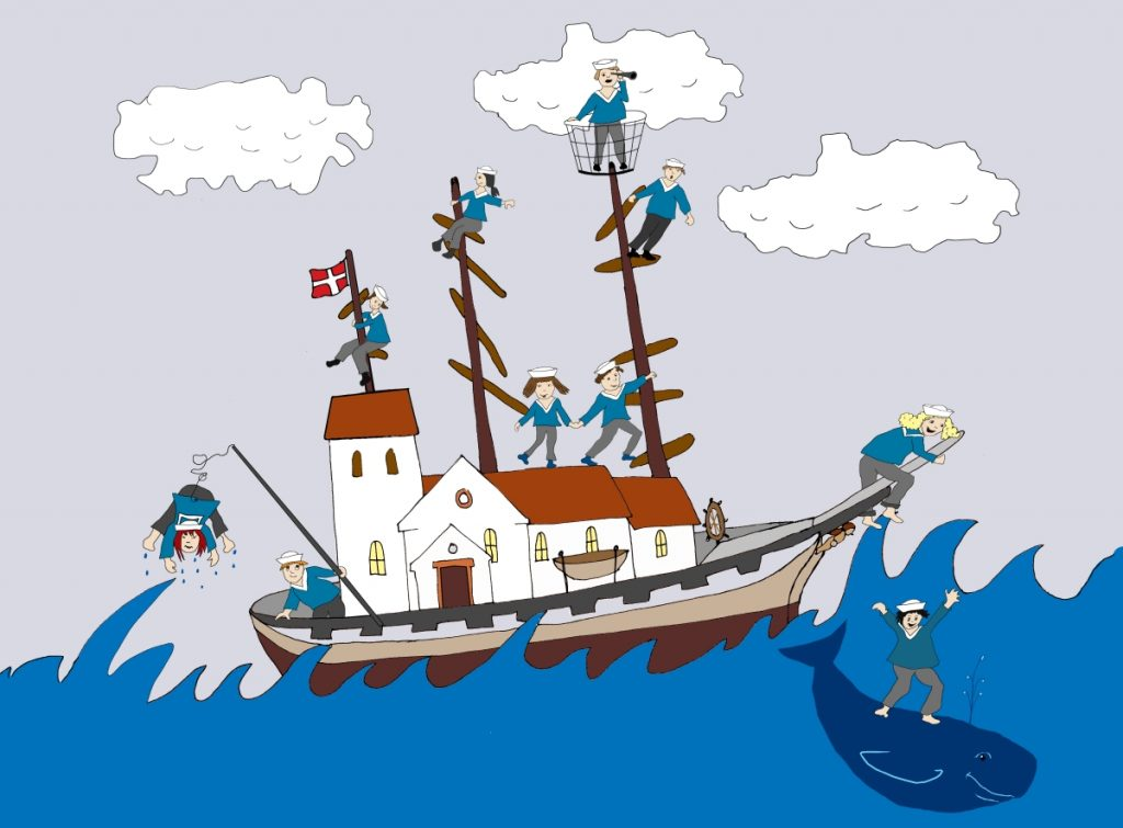 tegning af kirkeskib med en flok minimatroser der kravler rundt.